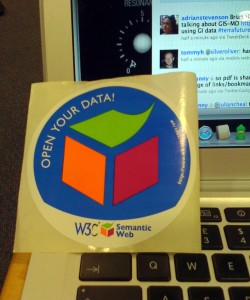 'Open Your Data' Sticker given out by Tim Berners-Lee