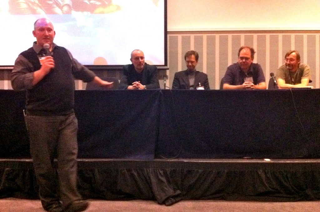 Linked Data Panel Session at JISC Conference 2011 (L-R: David Flanders, Hugh Glaser, Wilbert Kraan, Bijan Parsia, Graham Klyne)