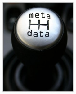 "car gear lever showing the word ""metadata"""
