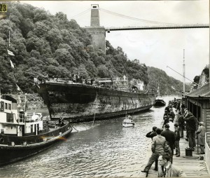 ss Great Britain being towed up river Avon