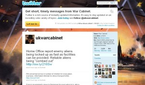UK War Cabinet on twitter screenshot