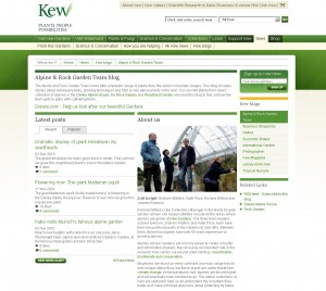 screenshot of Kew Gardens alpine and rock garden blog