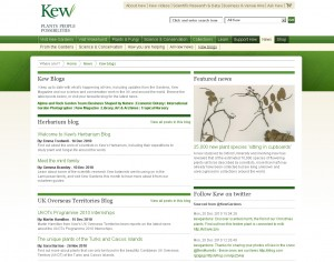 screenshot of Kew Gardens blog listing
