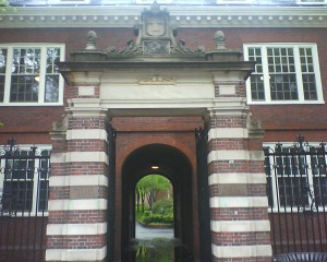 One of the gates to the yard at Harvard University